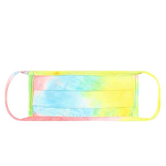 Accessories - Pleated Rainbow Tie Dye Face Mask